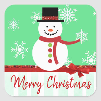Merry Christmas Vintage Snowman Stickers