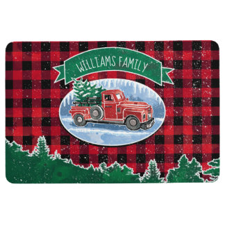 Merry Christmas Vintage Truck Add Name Floor Mat