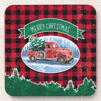 Merry Christmas Vintage Truck Coaster