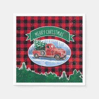 Merry Christmas Vintage Truck Disposable Napkin