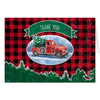 Merry Christmas Vintage Truck Thank You Card