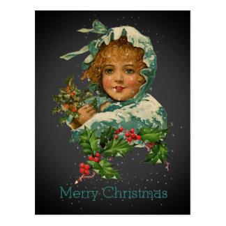 Merry Christmas Vintage Victorian Holly Girl Black Postcard