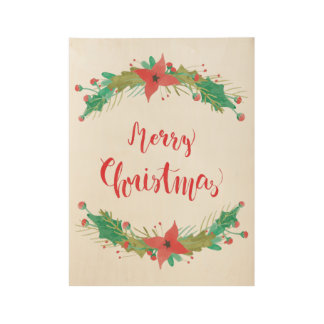 Merry Christmas Vintage Watercolor Wood Poster