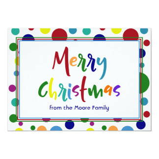 Merry Christmas w/ Multicolored Letters & Dots 3 Card