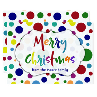 Merry Christmas w/ Multicolored Letters & Dots Card