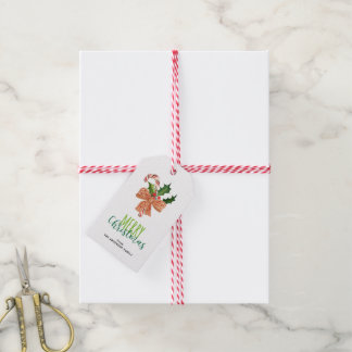 Merry Christmas Watercolor Candy Cane Personalized Gift Tags