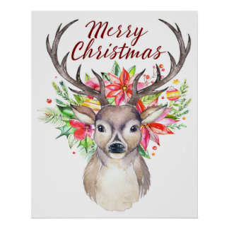Merry Christmas Watercolor Floral Deer - Buck Poster