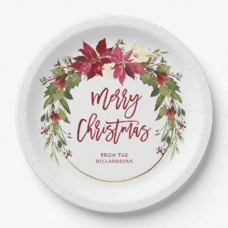 Merry Christmas Watercolor Floral Wreath with Gold Paper Plate