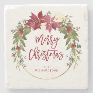 Merry Christmas Watercolor Floral Wreath with Gold Stone Coaster