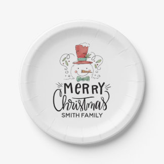 Merry Christmas. Watercolor Hand Drawn Santa Paper Plate