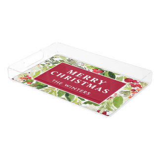 Merry Christmas | Watercolor Monogram Holiday Acrylic Tray