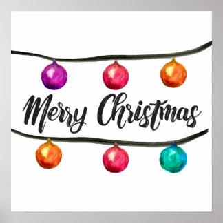 Merry Christmas, Watercolor Ornament, script Poster