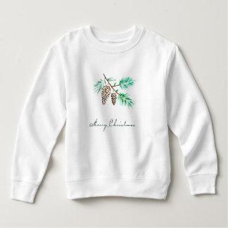 Merry Christmas Watercolor Pines & Pine Cones Sweatshirt