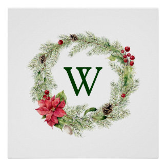 Merry Christmas Watercolor Poinsettia Pine Frame 2 Poster