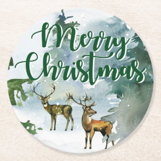 Merry Christmas | Watercolor Reindeer Forest Round Paper Coaster