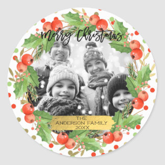 Merry Christmas Watercolor Wreath Holiday Photo Classic Round Sticker