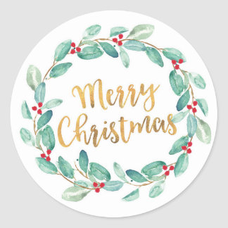 Merry Christmas watercolor wreath stickers