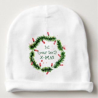 Merry Christmas Watercolors Baby Beanie