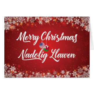 Merry Christmas Welsh Bilingual Card, Wales Card