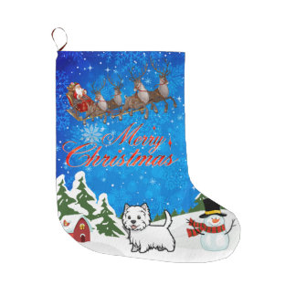 Merry Christmas West Highland Terrier Large Christmas Stocking