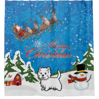 Merry Christmas West Highland Terrier With Santa Shower Curtain