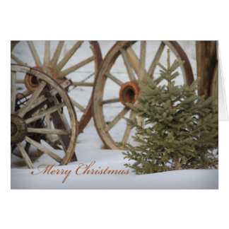Merry Christmas Western Wagon Wheels and Pine Tree Card
