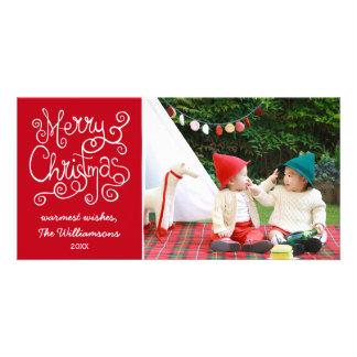 Merry Christmas Whimsical Calligraphy Swirl Photo Card