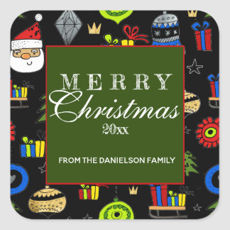 Merry Christmas Whimsical Ornaments Colorful Square Sticker