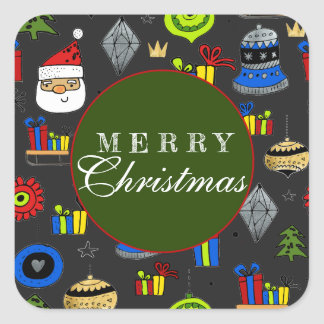 Merry Christmas Whimsical Ornaments Modern Square Sticker