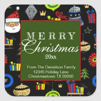 Merry Christmas Whimsical Ornaments Return Address Square Sticker