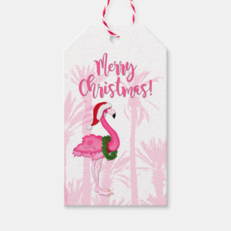 Merry Christmas Whimsical Pink Flamingo Palm Trees Gift Tags