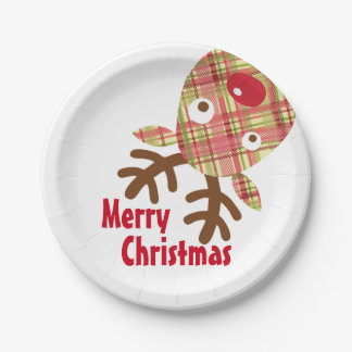 Merry Christmas Whimsical Reindeer Paper Plate