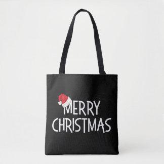 Merry Christmas Whimsical Santa Hat on Black Tote Bag