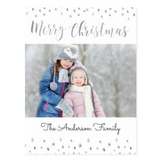 Merry Christmas White and Silver Foil Stars Photo Postcard
