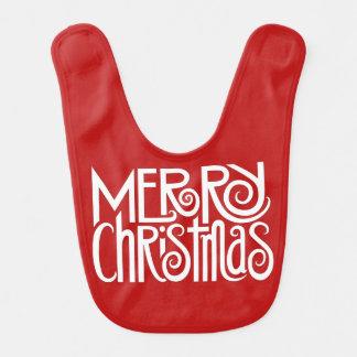 Merry Christmas white baby Bib