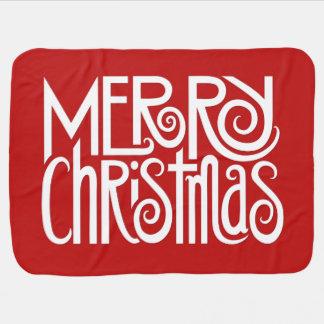 Merry Christmas white Baby Blanket