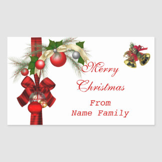 Merry Christmas White Balls Gold Red Xmas Party Rectangular Sticker