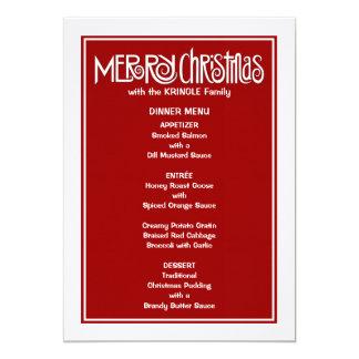 Merry Christmas white Dinner Menu 13 Cm X 18 Cm Invitation Card