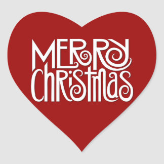 Merry Christmas white Heart Sticker