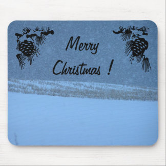 Merry Christmas - White Out Snow Storm Mouse Pad