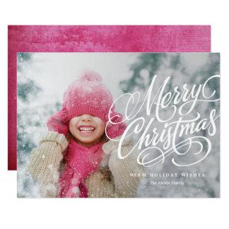 Merry Christmas White Overlay Holiday Photo Card