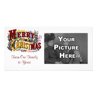 Merry Christmas White Photo Card