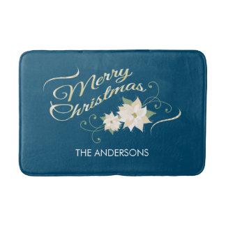 Merry Christmas, White Poinsettia, Personalized Bath Mat