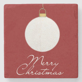 Merry Christmas white snowball illustration Stone Beverage Coaster