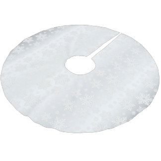 Merry Christmas White Snowflake Satin Brushed Polyester Tree Skirt