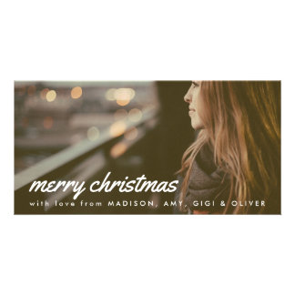 Merry Christmas White Typography Christmas Photo Card