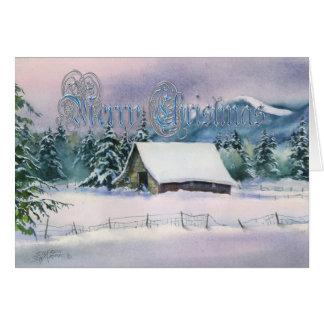 MERRY CHRISTMAS WINTER BARN by SHARON SHARPE Card