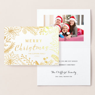 MERRY CHRISTMAS WINTER FOLIAGE FRAME | GOLD FOIL CARD