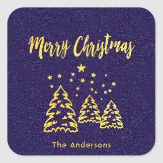 Merry Christmas winter forest blue glitter gold Square Sticker