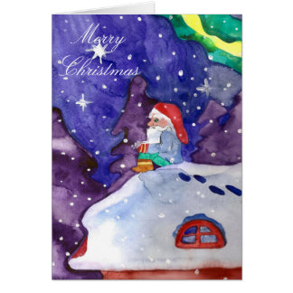 Merry Christmas Winter Night Elf Greeting Card